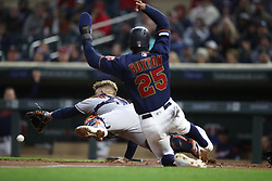 May 1, 2019 - Minneapolis, MN, USA - United States - Minnesota Twins center fielder Byron Buxton (25) scored over Houston Astros catcher Max Stassi (12) in the third inning at Target Field Wednesday May1, 2019 in Minneapolis, MN.] The Minnesota Twins hosted the Houston Astros at Target Field . Jerry Holt • Jerry.holt@startribune.com (Credit Image: © Jerry Holt/Minneapolis Star Tribune via ZUMA Wire)