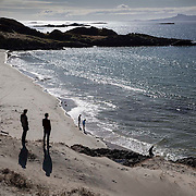 People enjoy the good weather on Camusdarach Beach near Arisaig on the North West coast of Scotland. Picture Robert Perry 16th April 2015<br /> <br /> Must credit photo to Robert Perry<br /> FEE PAYABLE FOR REPRO USE<br /> FEE PAYABLE FOR ALL INTERNET USE<br /> www.robertperry.co.uk<br /> NB -This image is not to be distributed without the prior consent of the copyright holder.<br /> in using this image you agree to abide by terms and conditions as stated in this caption.<br /> All monies payable to Robert Perry<br /> <br /> (PLEASE DO NOT REMOVE THIS CAPTION)<br /> This image is intended for Editorial use (e.g. news). Any commercial or promotional use requires additional clearance. <br /> Copyright 2014 All rights protected.<br /> first use only<br /> contact details<br /> Robert Perry     <br /> 07702 631 477<br /> robertperryphotos@gmail.com<br /> no internet usage without prior consent.         <br /> Robert Perry reserves the right to pursue unauthorised use of this image . If you violate my intellectual property you may be liable for  damages, loss of income, and profits you derive from the use of this image.