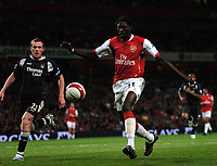 Photo: Tony Oudot.<br /> Arsenal v Manchester City. The Barclays Premiership. 17/04/2007.<br /> Emmanuel Adebayor of Arsenal gets in a shot past Richard Dunne of Manchester City