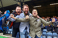 AFC Wimbledon fans celebrating during the EFL Sky Bet League 1 match between Southend United and AFC Wimbledon at Roots Hall, Southend, England on 12 October 2019.