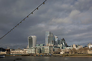 With weeks before the UK's historic Brexit date (January 31st), the Walkie-Talkie building (left) plus others in the capital's financial district, the City of London - aka the Square Mile - are seen from across the Thames river, on 16th January 2020, in London, England.