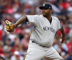 October 6, 2017 - Cleveland, OH, USA - New York Yankees pitcher CC Sabathia throws against the Cleveland Indians in the first inning during Game 2 of the American League Division Series, Friday, Oct. 6, 2017, at Progressive Field in Cleveland. (Credit Image: © Phil Masturzo/TNS via ZUMA Wire)