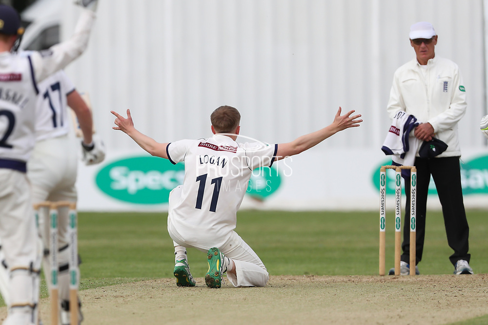 James Logan of Yorkshire appeals unsuccessfully during the Specsavers County Champ Div 1 match between Yorkshire County Cricket Club and Warwickshire County Cricket Club at York Cricket Club, York, United Kingdom on 18 June 2019.