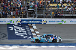 August 12, 2018 - Brooklyn, MI, U.S. - BROOKLYN, MI - AUGUST 12: Monster Energy NASCAR Cup Series driver Kevin Harvick (4) looks towards pit row after winning the Monster Energy NASCAR Cup Series Consumers Energy 400 at Michigan International Speedway on August 12, 2018 in Brooklyn, Michigan.(Photo by Adam Lacy/Icon Sportswire) (Credit Image: © Adam Lacy/Icon SMI via ZUMA Press)