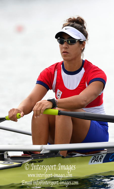 Trackai. LITHUANIA. PAR LW1X Gabriela MOSQUEIRA, 2012 FISA U23 Rowing Championships, Lake Galve.   09:35:18 Thursday 12/07/2012 [Mandatory credit: Peter Spurrier/Intersport Images]..Rowing, U23, 2012.