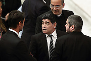 Sept 1, 2014 - Vatican City State (Holy See) - Italy Out<br /> <br /> Maradona Meets Pope Francis<br /> <br /> DIEGO ARMANDO MARADONA meets POPE FRANCIS during the Pope's audience for the interreligious soccer match for peace that will played at Rome's Olympic Stadium. <br /> ©Evandro Inetti/Exclusivepix