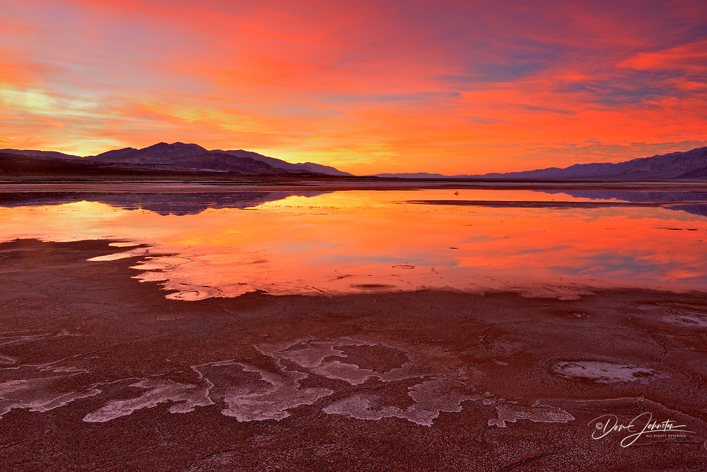 Cottonball Basin- saline pools at sunrise, Death Valley National Park, California, USA