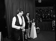 """The Benson and Hedges .Irish Masters Snooker..1984..28.03.1984..03.28.1984..28th March 1984..The championship was held at Goffs,Co Kildare. All the top names in snooker took part..Steve Davis,Jimmy White,Eddie Charlton,.Tony Knowles,Dennis Taylor,Tony Meo,.Alex Higgins,Ray Reardon,.Cliff Thorburn,Terry Griffiths,.Bill Werbeniuk and Eugene Hughes..The eventual winner was Steve Davis who beat Terry Griffiths 9 -1 in the final..In the second match of the night, fans favourite, Alex """"Hurricane' Higgins is introduced to the crowd"""