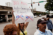 BIRMINGHAM, AL –SEPTEMBER 16, 2012: Protestors gather outside the Sheraton Hotel in Birmingham, Alabama to protest during a briefing on the civil rights effects of state immigration law held by the U.S. Commission on Civil Rights.
