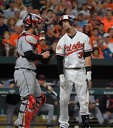 June 21, 2017 - Baltimore, MD, USA - The Baltimore Orioles' Caleb Joseph strikes out on a check swing in the third inning against the Cleveland Indians at Oriole Park at Camden Yards in Baltimore on Wednesday, June 21, 2017. The Indians won, 5-1. (Credit Image: © Lloyd Fox/TNS via ZUMA Wire)