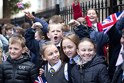 © Licensed to London News Pictures . 14/09/2017 . Liverpool , UK . Children from Northcote Primary School gather to welcome the Duke of Cambridge , Prince William , at a visit to Life Rooms in Walton . Life Rooms provides community support to help people recover from mental health issues . Photo credit : Joel Goodman/LNP