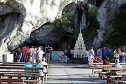 Lourdes the Holy grotto with Maria statue