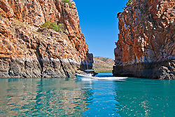 Passengers travel through the Horizontal Waterfalls with Horizontal Falls Seaplane Adventures.