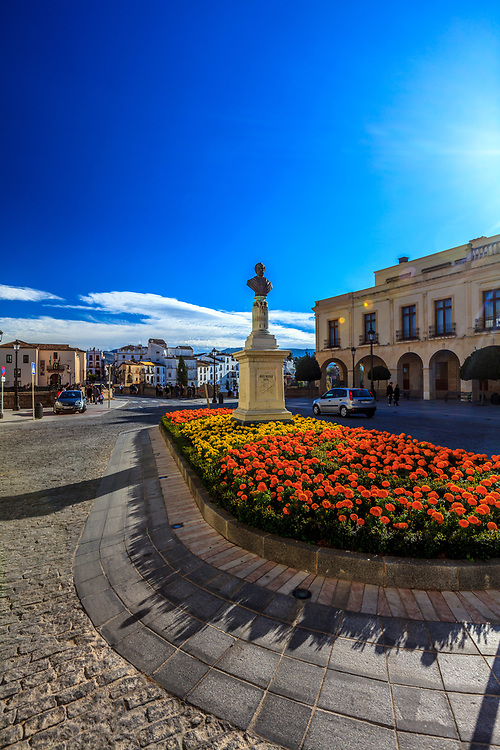 """The Square of Spain (Plaza de España) in Ronda, Spain. The square is known from Ernest Hemingway's novel """"For Whom the Bell Tolls."""""""