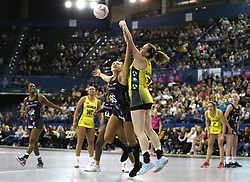 Manchester Thunder's Kerry Almond (right) and Saracens Mavericks George Fisher battle for the ball during the Vitality Netball Superleague Super Ten match held at Arena Birmingham.