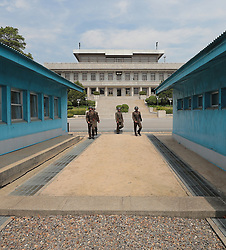 April 26, 2018 - Panmunjom, South Korea - South and North Korea DMZ zone and border. Inter-Korean summit at the Panmunjom in the demilitarized zone (DMZ) separating the two Koreas in Paju, north of Seoul, South Korea. (Credit Image: © Inter-Korean Press Corps via ZUMA Wire)