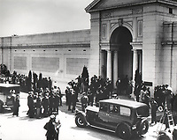 1926 Rudolph Valentino's casket being carried into the Grand Mausoleum