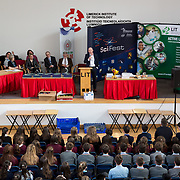 27.04.2016.          <br />  Kalin Foy and Ciara Coyle win SciFest@LIT<br /> Kalin Foy and Ciara Coyle from Colaiste Chiarain Croom to represent Limerick at Ireland's largest science competition.<br /> <br /> Pictured at the event was Brian Ahern, Intel.<br /> <br /> Of the over 110 projects exhibited at SciFest@LIT 2016, the top prize on the day went to Kalin Foy and Ciara Coyle from Colaiste Chiarain Croom for their project, 'To design and manufacture wireless trailer lights'. The runner-up prize went to a team from John the Baptist Community School, Hospital with their project on 'Educating the Youth of Ireland about Farm Safety'. Picture: Alan Place