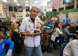 May 2, 2017 - Newport Beach, California, USA - Jim Blackie talks to his class after receiving a golden apple as part of a 2018 Teacher of the Year award from the Orange County Department of Education in Newport Beach, California, on Tuesday, May 2, 2017. ..Blackie, an 8th grade science teacher at Ensign Intermediate School, is one of six teachers who were surprised with the honor by county superintendent of school Dr. Al Mija?res. ..(Photo by Jeff Gritchen, Orange County Register/SCNG) (Credit Image: © Jeff Gritchen, Jeff Gritchen/The Orange County Register via ZUMA Wire)