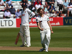 May 4, 2018 - Chelmsford, Greater London, United Kingdom - Yorkshire's Ben Coad  celebrates bowling out Essex's Nick Browne.during Specsavers County Championship - Division One, day one match between Essex CCC and Yorkshire CCC at The Cloudfm County Ground, Chelmsford, England on 04 May 2018. (Credit Image: © Kieran Galvin/NurPhoto via ZUMA Press)
