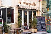 Gruissan village. La Clape. Languedoc. Restaurant La Cranquette. France. Europe.