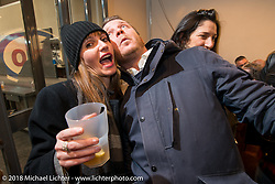 Kia Niedrich of Easyrider Germany at the Mr. Martini Friday night party celebrating the opening of his bar / restaurant at the workshop during the Motor Bike Expo. Verona, Italy. January 22, 2016.  Photography ©2016 Michael Lichter.