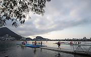 "Rio de Janeiro. BRAZIL.   General view overlooking the boating area. 2016 Olympic Rowing Regatta. Lagoa Stadium,<br /> Copacabana,  ""Olympic Summer Games""<br /> Rodrigo de Freitas Lagoon, Lagoa.   Tuesday  09/08/2016 <br /> <br /> [Mandatory Credit; Peter SPURRIER/Intersport Images]"