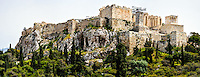 Athens, Greece. View of Acropolis from Areopagus with the Propylaea.