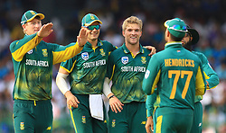 August 12, 2018 - Colombo, Sri Lanka - South African cricketer  Willem Mulder (3L) celebrates with his team members during the 5th and final One Day International cricket match between Sri Lanka and South Africa  at R Premadasa International cricket ground, Colombo, Sri Lanka on Sunday 12 August 2018  (Credit Image: © Tharaka Basnayaka/NurPhoto via ZUMA Press)