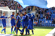 Junior Hoilett of Cardiff city © celebrates with his teammates and mascot after he scores his teams 2nd goal.  EFL Skybet championship match, Cardiff city v Aston Villa at the Cardiff City Stadium in Cardiff, South Wales on Saturday 12th August 2017.<br /> pic by Andrew Orchard, Andrew Orchard sports photography.