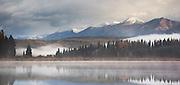 Early morning on Rainy Lake near Seeley Lake, Montana
