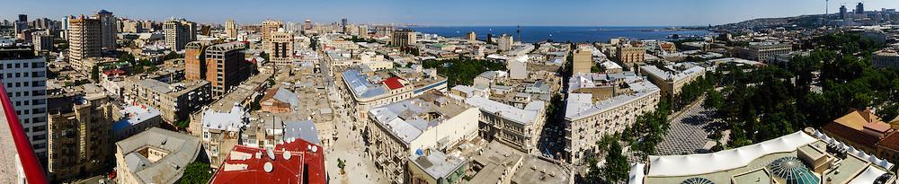 Azerbaijan, Baku. Panorama. Baku is the capital, the largest city, and the largest port of Azerbaijan and entire Caucasus. Caspian Sea in the background.