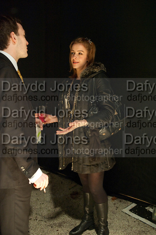 DAYRELL COLLINS; LOUISE DONAGHY, Fired Up, Exhibition of work by Joe Clark, Lauren Cotton, Rory McCartney, David Jones and Farid Rasulov. Gazelli Art House. Wakefield st. London. WC1. 10 February 2011. -DO NOT ARCHIVE-© Copyright Photograph by Dafydd Jones. 248 Clapham Rd. London SW9 0PZ. Tel 0207 820 0771. www.dafjones.com.