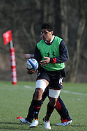 Toby Faletau passes the ball. Wales rugby team training at the Vale Resort, Hensol near Cardiff on Tuesday 5th March 2013.  pic by  Andrew Orchard, Andrew Orchard sports photography,