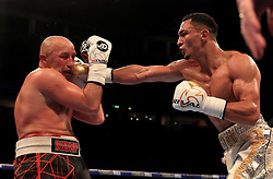 Marcus Morrison (righ) in action against Mariusz Biskupski during their Middleweight contest at Manchester Arena.