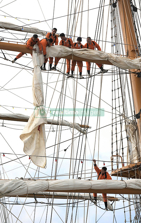 , Argentina - 2/25/2010 - Lowering the sails at The Guayas,training ship of the Ecuatorian Navy(Photo by Marcelo Gurruchaga/VWPics) *** Please Use Credit from Credit Field *** *** Please Use Credit from Credit Field ***