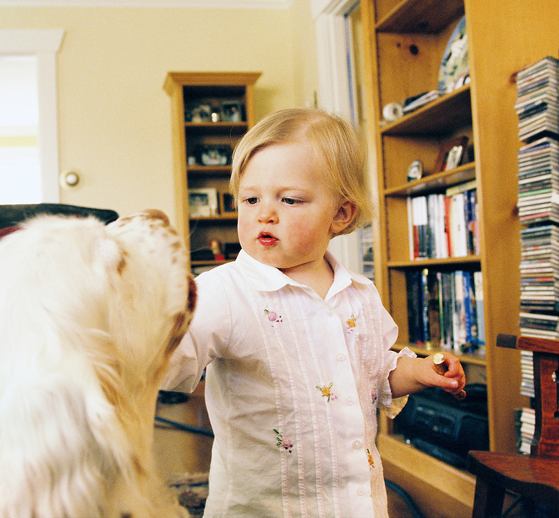 Todd, Clair, and Olivia Deligan, Family, Home, Dog, toddler, kids.  Dudley the dog.