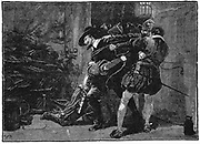 Gunpowder Plot, Roman Catholic conspiracy to blow up English Houses of Parliament on 5 November 1605 when James I was due to open new session. Arrest of Guy Fawkes in cellars of Parliament.  19th century wood engraving.