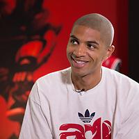 12 July 2013: Portland Trail Blazers Nicolas Batum answers journalists during Adidas' D Rose tour,  in Paris, France.