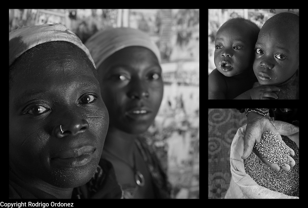 """Clockwise from left: Sakina Moudi (left), 30, and Halima Abdou, 25. Their children Kassoumou (right), 4, and Massaoudou, 10 months. Sakina takes sorghum out of a sack at her home in Saran Maradi, Niger. (Photo: Rodrigo Ordonez/CARE)..Halima Abdou has five children. Sakina Moudi has six children and suffered the loss of one..Last year they harvested 40kg of cereal. """"It only lasted for five days,"""" says Sakina. This year they didn't get any crops. .In the periods without food, their husband collects and sells wood to buy yam flour. Now their husband participates in CARE's cash-for-work project and continues to sell firewood to get additional income. """"With this support, we get to eat abundantly,"""" explains Halima. """"We buy millet, sorghum, and corn."""" They serve their children two meals per day, one in the morning and one in the evening."""