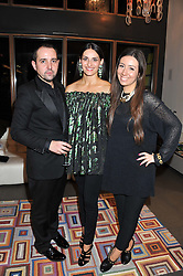 Left to right, RAFAEL LOPEZ, CARMEN HAID and SOPHIE GITTINS at a private sales evening for Atelier Mayer held at 18 Horbury Crescent, London W11 on 22nd November 2011.