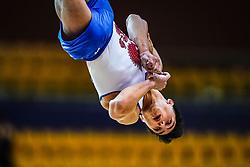 October 29, 2018 - Doha, Qatar - Artur Dalaloyan of Russia   during  Floor, Team final for Men at the Aspire Dome in Doha, Qatar, Artistic FIG Gymnastics World Championships on October 29, 2018. (Credit Image: © Ulrik Pedersen/NurPhoto via ZUMA Press)