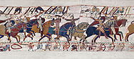 11th Century Medieval Bayeux Tapestry - Scene 55 - Duke William takes off his helmet to show he has not been wounded. .<br /> <br /> If you prefer you can also buy from our ALAMY PHOTO LIBRARY  Collection visit : https://www.alamy.com/portfolio/paul-williams-funkystock/bayeux-tapestry-medieval-art.html  if you know the scene number you want enter BXY followed bt the scene no into the SEARCH WITHIN GALLERY box  i.e BYX 22 for scene 22)<br /> <br />  Visit our MEDIEVAL ART PHOTO COLLECTIONS for more   photos  to download or buy as prints https://funkystock.photoshelter.com/gallery-collection/Medieval-Middle-Ages-Art-Artefacts-Antiquities-Pictures-Images-of/C0000YpKXiAHnG2k