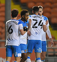 Hull City's Mallik Wilks is congratulated on scoring his team's opening goal<br /> <br /> Photographer Dave Howarth/CameraSport<br /> <br /> The EFL Sky Bet League One - Blackpool v Hull City - Tuesday 15th December 2020 - Bloomfield Road - Blackpool<br /> <br /> World Copyright © 2020 CameraSport. All rights reserved. 43 Linden Ave. Countesthorpe. Leicester. England. LE8 5PG - Tel: +44 (0) 116 277 4147 - admin@camerasport.com - www.camerasport.com