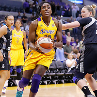 22 June 2014: forward Nneka Ogwumike (30) of the Los Angeles Sparks drives past center Jayne Appel (32) of the San Antonio Stars during the San Antonio Stars 72-69 victory over the Los Angeles Sparks, at the Staples Center, Los Angeles, California, USA.