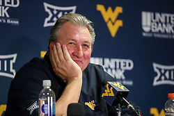 Mar 20, 2019; Morgantown, WV, USA; West Virginia Mountaineers head coach Bob Huggins talks to the media after the game at WVU Coliseum. Mandatory Credit: Ben Queen