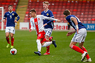 Nicola Zalewski wins the ball during the U17 European Championships match between Scotland and Poland at Firhill Stadium, Maryhill, Scotland on 26 March 2019.