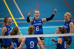 Elles Dambrink of Team22, Iris Vos of Team22, Demi Korevaar of Team22 in action during the league match Draisma Dynamo vs. Team22 on october 10, 2021 in Omnisport Apeldoorn, Apeldoorn