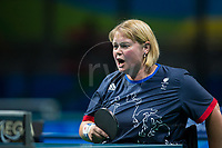 20160908 Copyright onEdition 2016©<br /> Free for editorial use image, please credit: onEdition<br /> <br /> Table Tennis Athlete Sue Gilroy MBE, (Singles Class 4 - Women), from Barnsley, for ParalympicsGB at the Rio Paralympic Games 2016.<br />  <br /> ParalympicsGB is the name for the Great Britain and Northern Ireland Paralympic Team that competes at the summer and winter Paralympic Games. The Team is selected and managed by the British Paralympic Association, in conjunction with the national governing bodies, and is made up of the best sportsmen and women who compete in the 22 summer and 4 winter sports on the Paralympic Programme.<br /> <br /> For additional Images please visit: http://www.w-w-i.com/paralympicsgb_2016/<br /> <br /> For more information please contact the press office via press@paralympics.org.uk or on +44 (0) 7717 587 055<br /> <br /> If you require a higher resolution image or you have any other onEdition photographic enquiries, please contact onEdition on 0845 900 2 900 or email info@onEdition.com<br /> This image is copyright onEdition 2016©.<br /> <br /> This image has been supplied by onEdition and must be credited onEdition. The author is asserting his full Moral rights in relation to the publication of this image. Rights for onward transmission of any image or file is not granted or implied. Changing or deleting Copyright information is illegal as specified in the Copyright, Design and Patents Act 1988. If you are in any way unsure of your right to publish this image please contact onEdition on 0845 900 2 900 or email info@onEdition.com