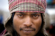 Portrait of an labourer from Jharkhand State, east India, on the Leh-Manali Highway.
